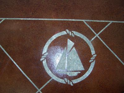 Image of sailboat in a tile pattern.