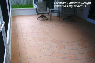 Image of round brick pattern on a Patio.